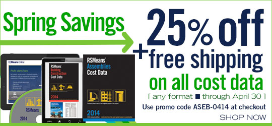 Get 25% off on all cost data plus free shipping!