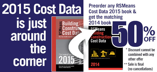 Preorder your 2015 Cost Data Books and get the 2014 edition at 50% off!